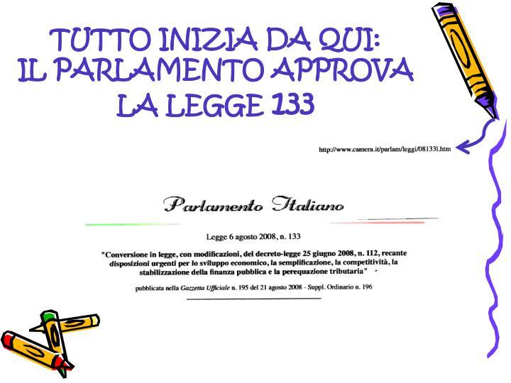 Tutto inizia da qui il parlamento approva la legge 133