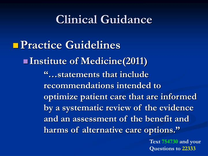 Clinical Guidance