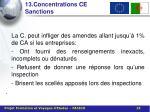 13 concentrations ce sanctions