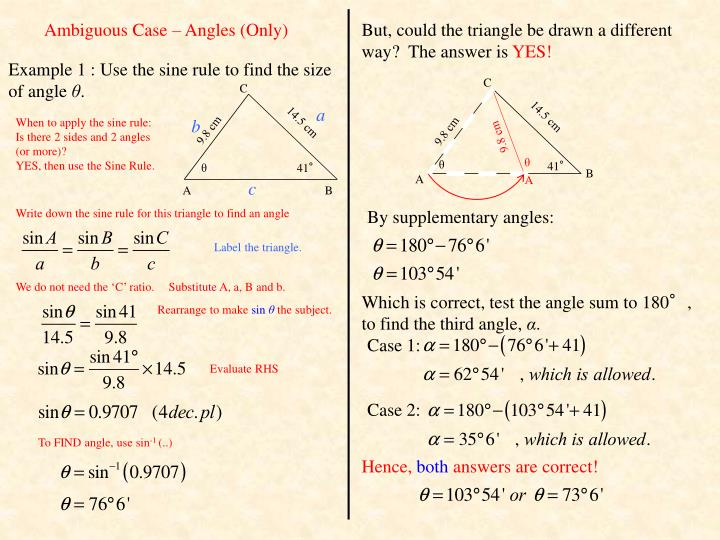 Ambiguous Case – Angles (Only)