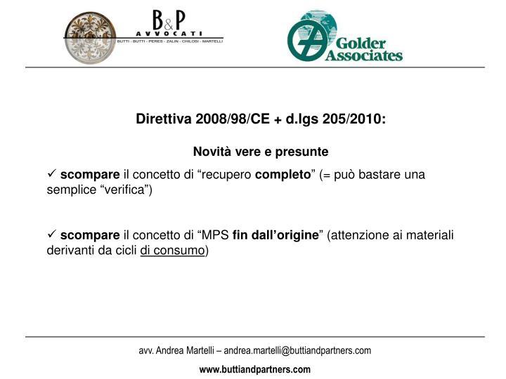 Direttiva 2008/98/CE + d.lgs 205/2010: