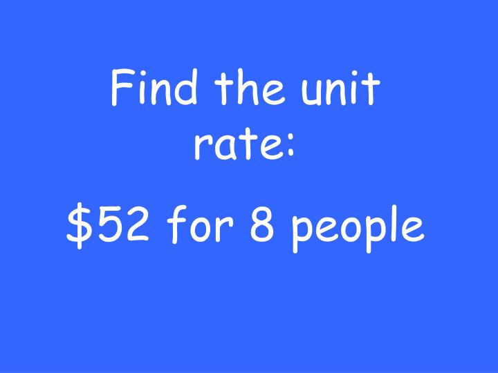 Find the unit rate:
