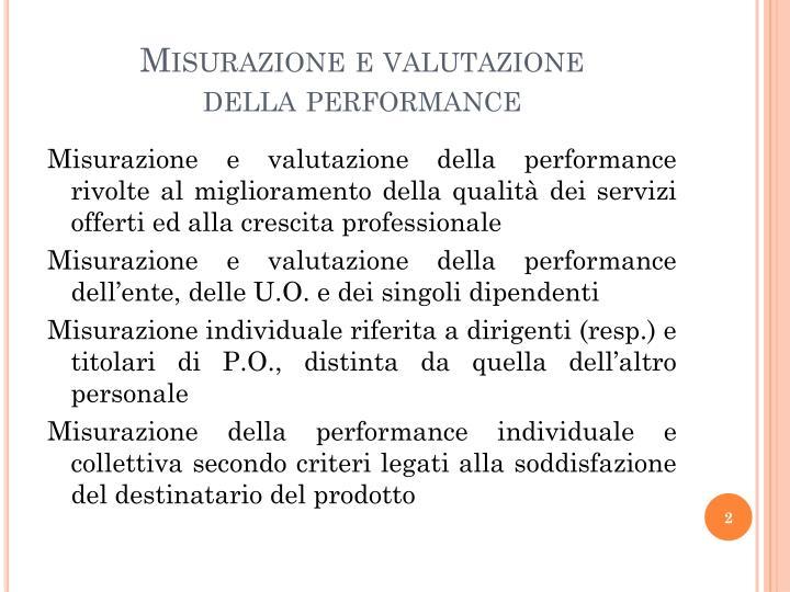 Misurazione e valutazione della performance