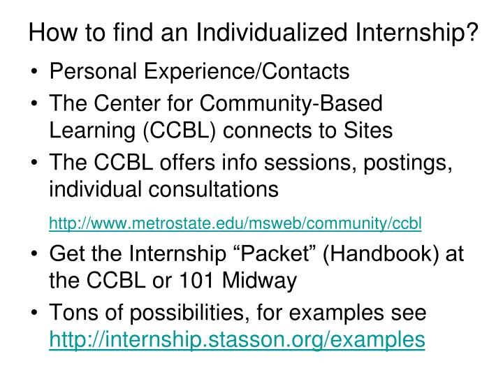 How to find an Individualized Internship?