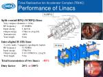 tokai radioactive ion accelerator complex triac performance of linacs