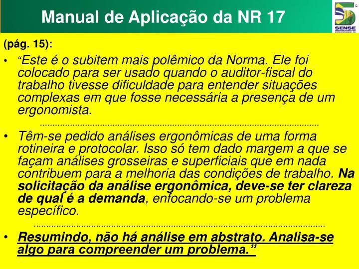 Manual de Aplicação da NR 17