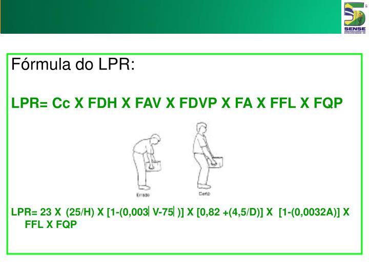 Fórmula do LPR: