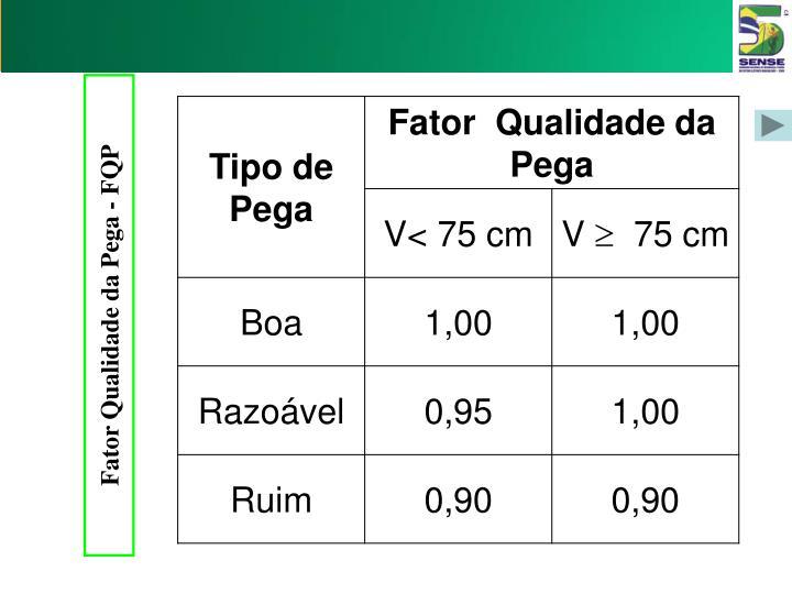 Fator Qualidade da Pega - FQP
