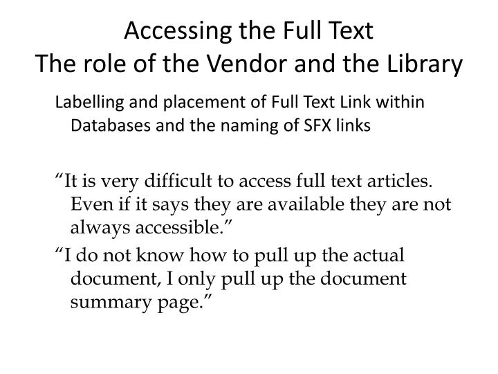 Accessing the Full Text