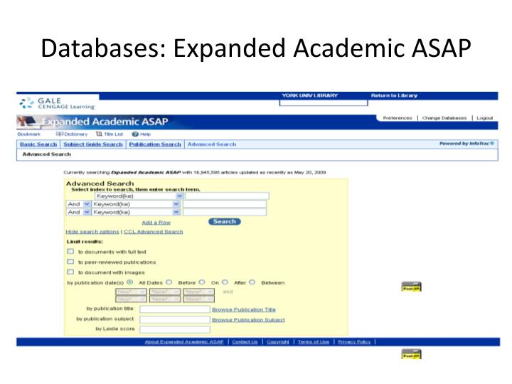 Databases: Expanded Academic ASAP