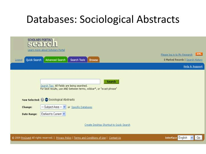 Databases: Sociological Abstracts