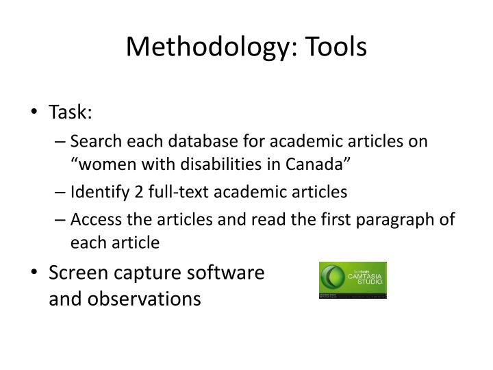 Methodology: Tools