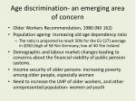 age discrimination an emerging area of concern