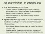 age discrimination an emerging area