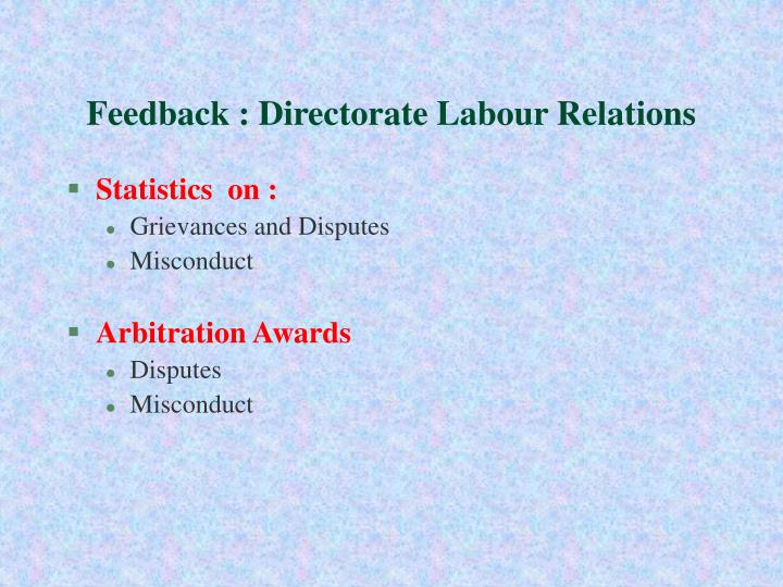 Feedback : Directorate Labour Relations