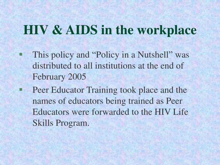 HIV & AIDS in the workplace