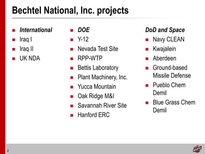 Bechtel national inc projects