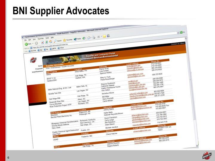 BNI Supplier Advocates