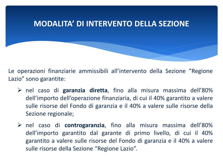 MODALITA' DI INTERVENTO DELLA SEZIONE