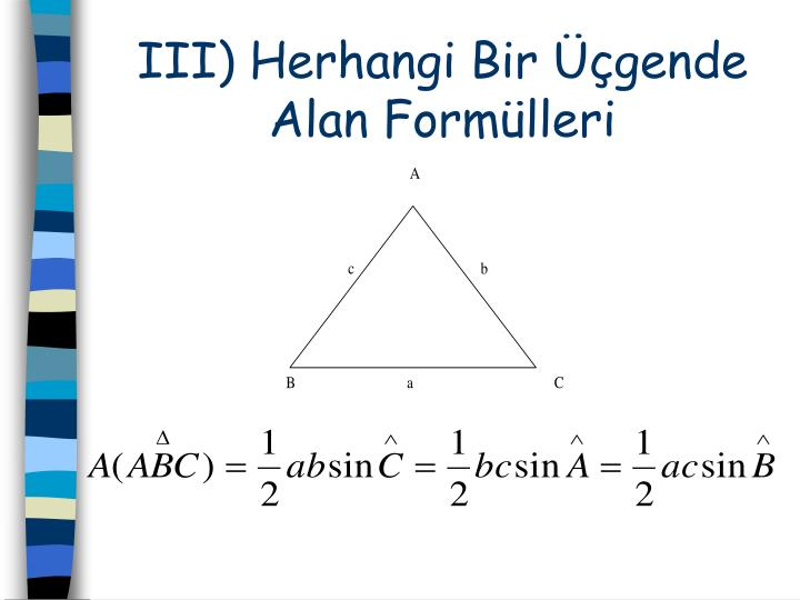 III) Herhangi Bir Üçgende Alan Formülleri