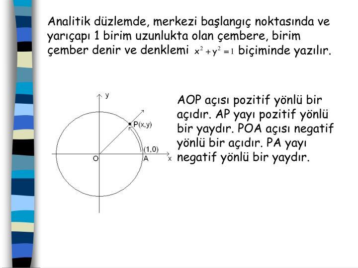 Analitik düzlemde, merkezi başlangıç noktasında ve yarıçapı 1 birim uzunlukta olan çembere, birim çember denir ve denklemi