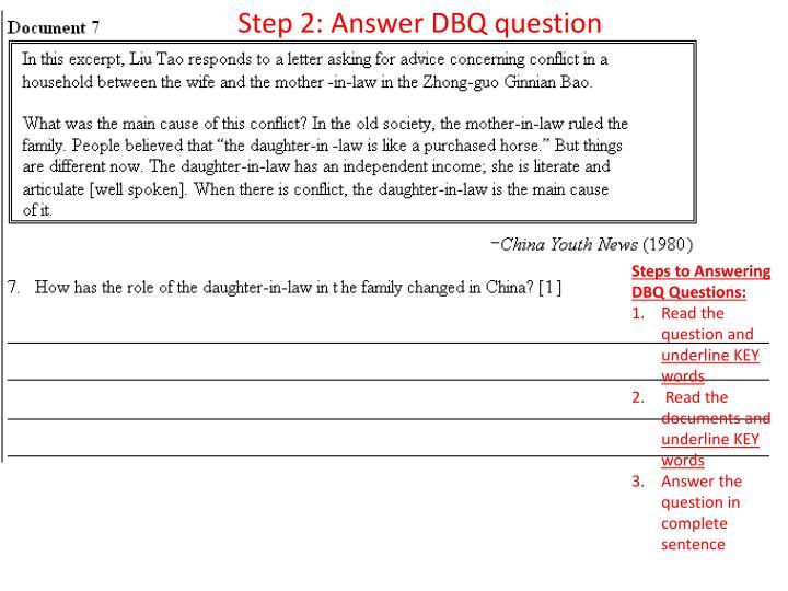 Step 2 Answer DBQ Question