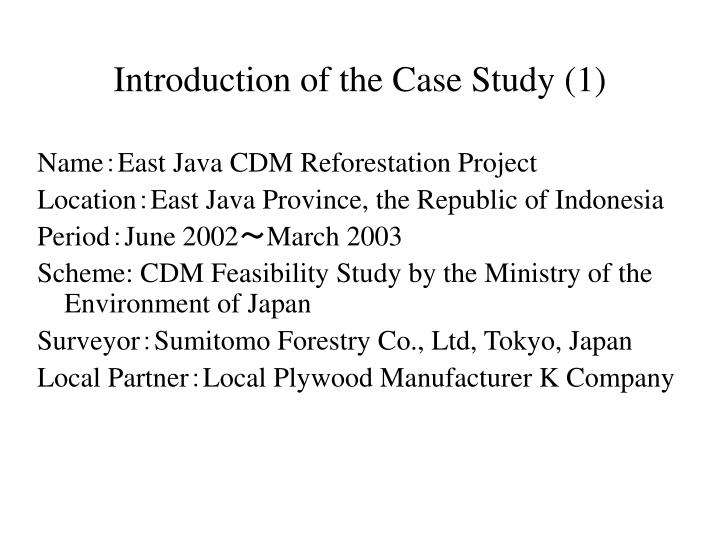 Introduction of the Case Study (1)