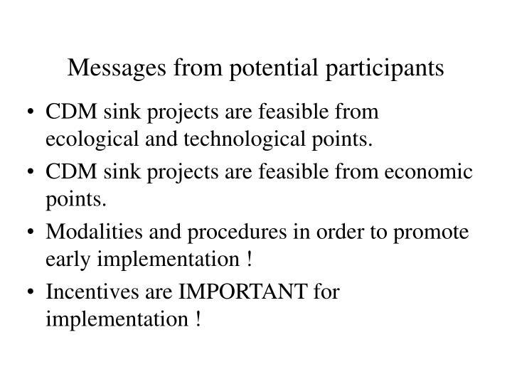 Messages from potential participants