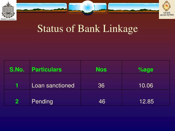 Status of Bank Linkage