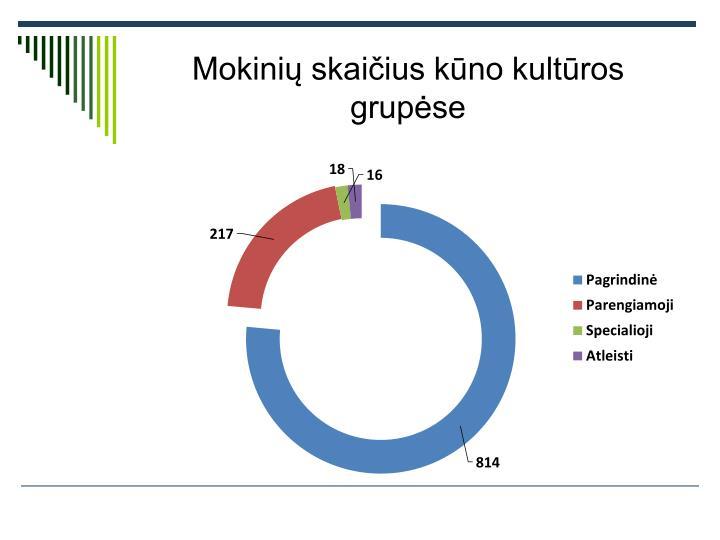 Mokinių skaičius kūno kultūros grupėse