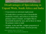 disadvantages of specializing in unpaid work south africa and india