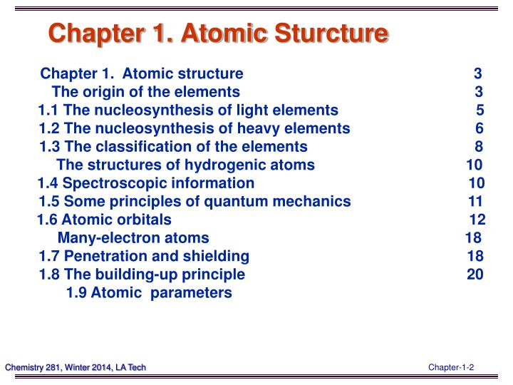 Chapter 1 atomic sturcture