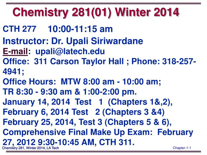 Chemistry 281 01 winter 2014