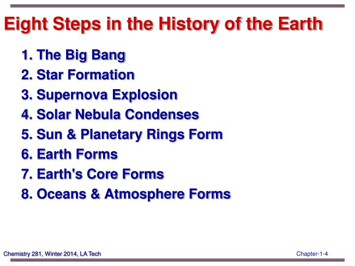 Eight Steps in the History of the Earth