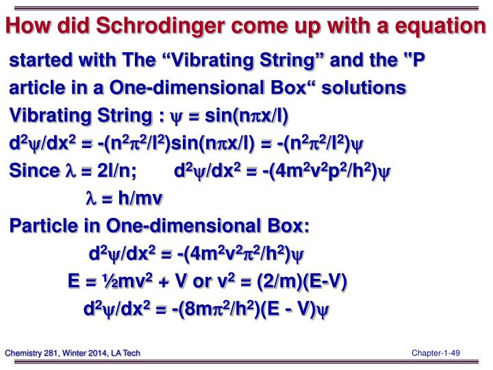 How did Schrodinger come up with a equation