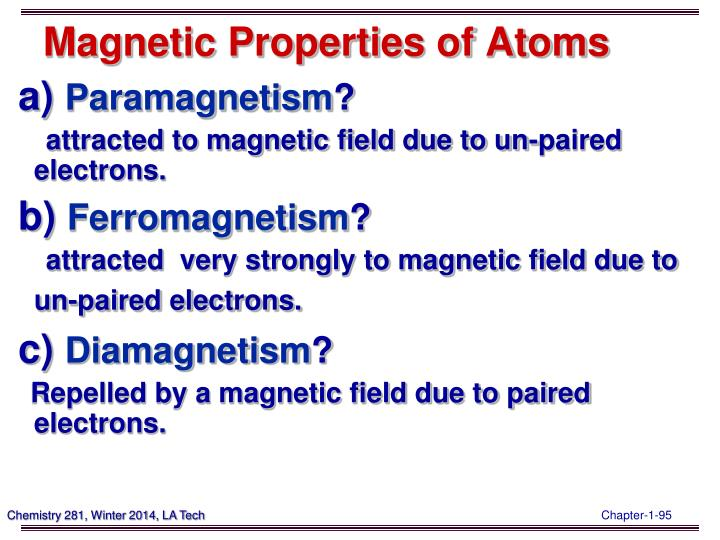 Magnetic Properties of Atoms