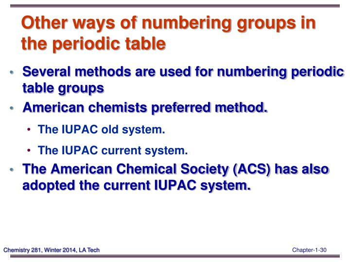 Other ways of numbering groups