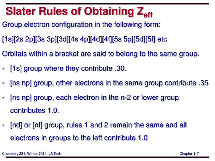 Slater Rules of Obtaining