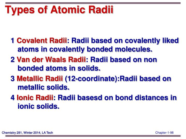 Types of Atomic Radii