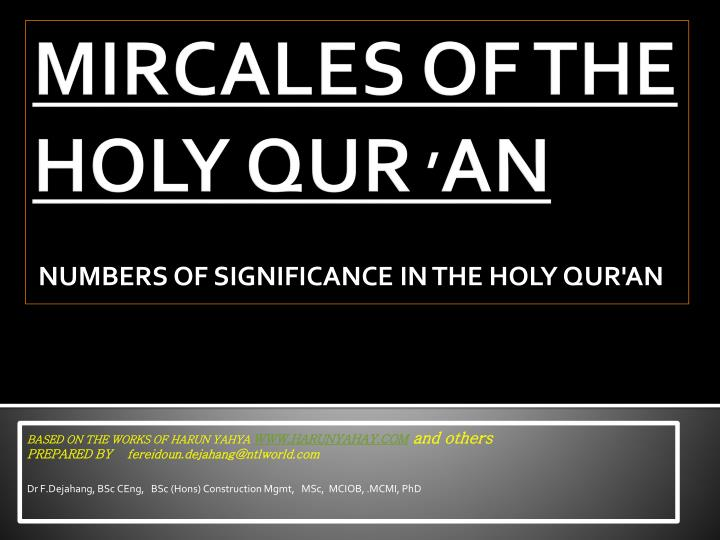 mircales of the holy qur an n.