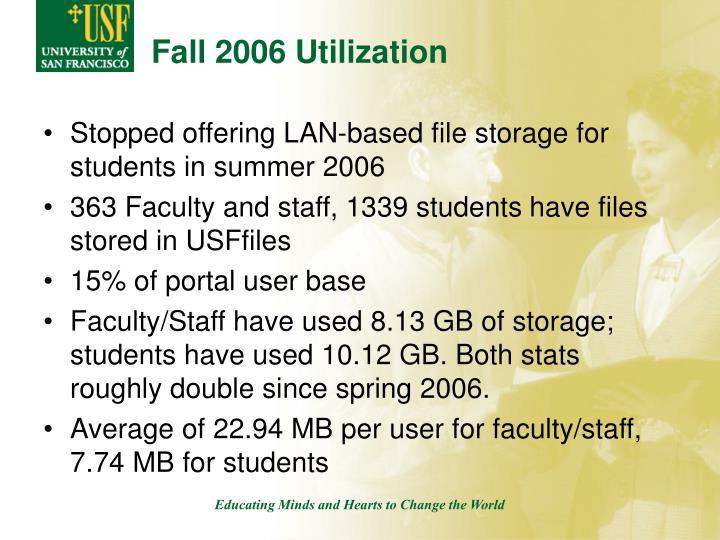Fall 2006 Utilization