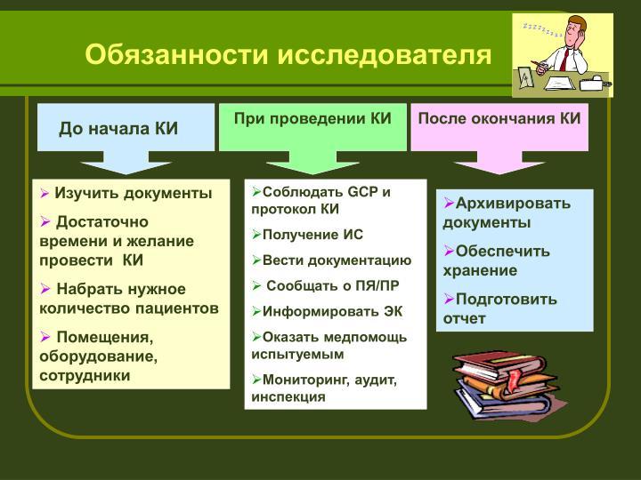 Обязанности исследователя