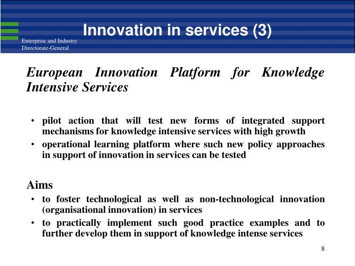 Innovation in services (3)