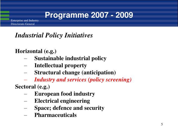 Programme 2007 - 2009