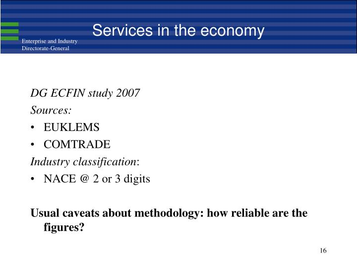 Services in the economy