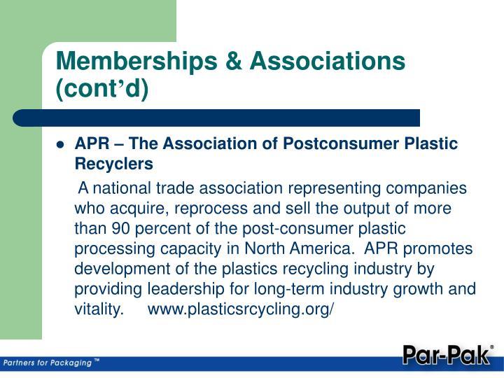Memberships & Associations (cont