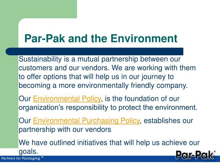 Par pak and the environment1