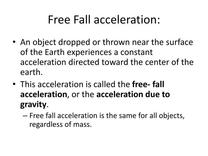 Free fall acceleration