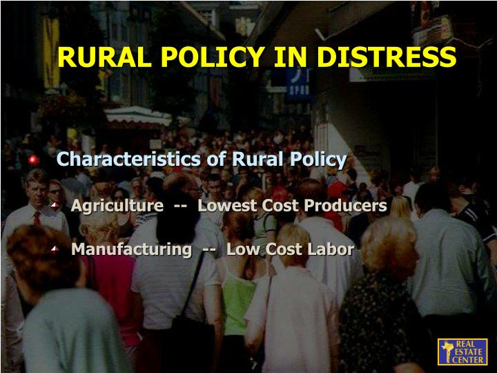 RURAL POLICY IN DISTRESS