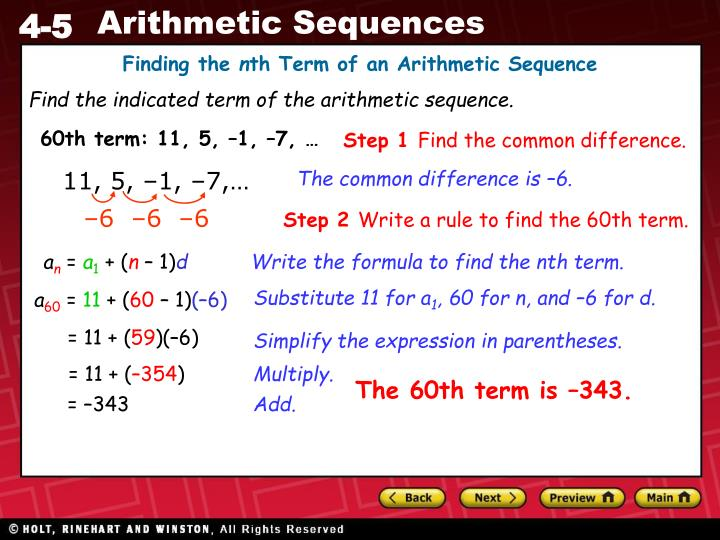 how to find the nth term in an arithmetic sequence